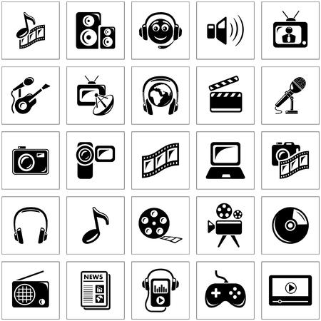 computer speaker: Multimedia icon set Illustration