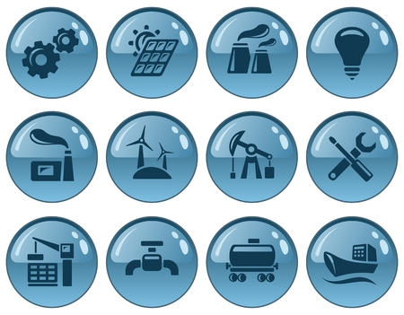 gas lamp: Industrial button set Illustration