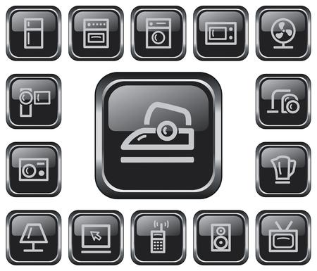 gas lamp: Home electronics button set Illustration