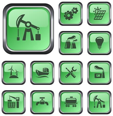 gas turbine: Industrial button set Illustration