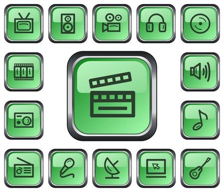 film slate: Multimedia button set Illustration