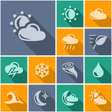 long night: Weather button set Illustration