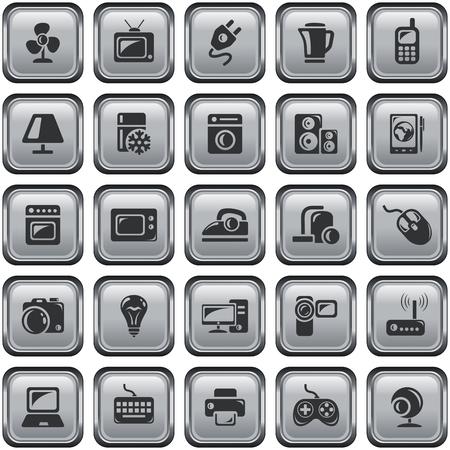 metal light bulb icon: Electronics button set Illustration