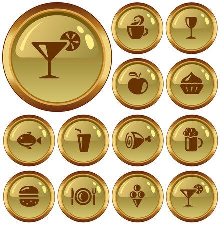 button set: Speisen und Getr�nke Button-Set