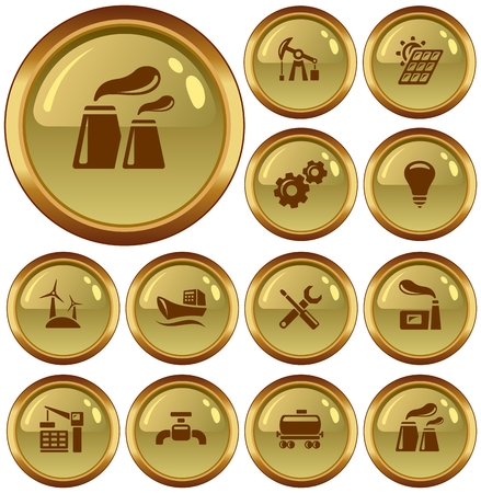 button set: Industrial button set Illustration