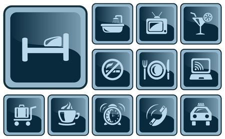 button set: Hotel Button-Set Illustration