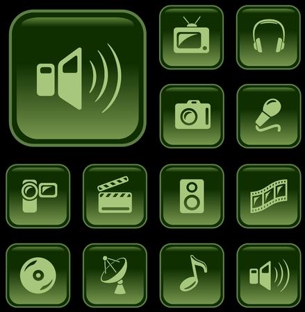 button set: Multimedia button set Illustration