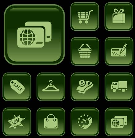 button set: Shopping button set Illustration