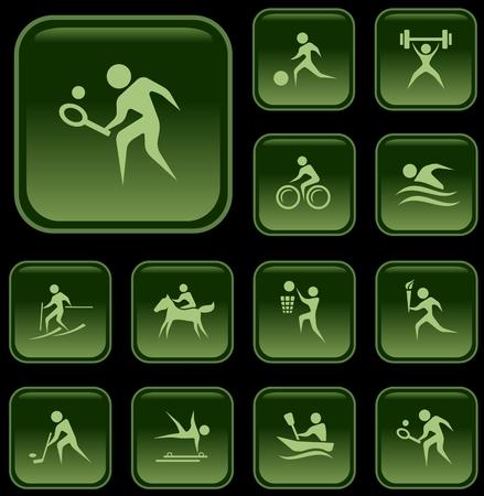 rower: Sport button set