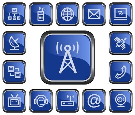 telephonist: Communication button set Illustration