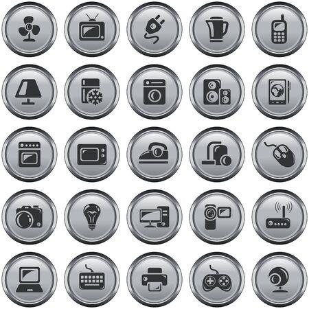 electronic device: Home electronics button set Illustration