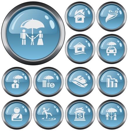 button set: Insurance button set Illustration