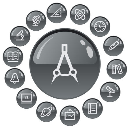 button set: Education button set Illustration