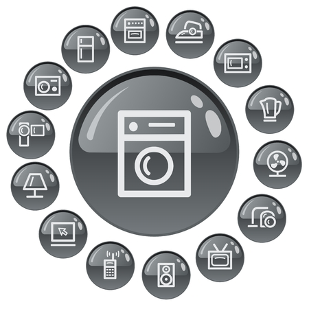 smoothing: Home electronics button set Illustration