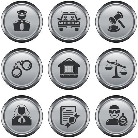 juridical: Security and law button set