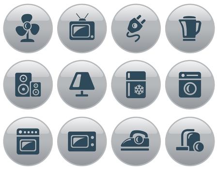 fridge lamp: Home electronics button set Illustration