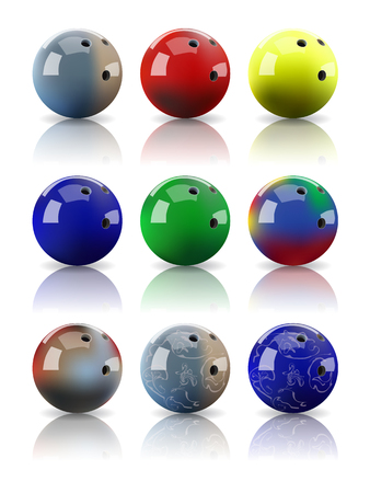 mirror reflection: Set of vector realistic assorted bowling balls with mirror reflection.