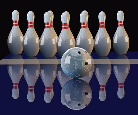 mirror reflection: Realistic vector bowling ball and pins with mirror reflection on dark background. Illustration