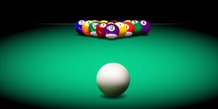 Realistische vector biljartballen op de groene tafel Vector Illustratie
