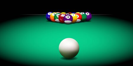 Realistic vector billiard balls on the green table