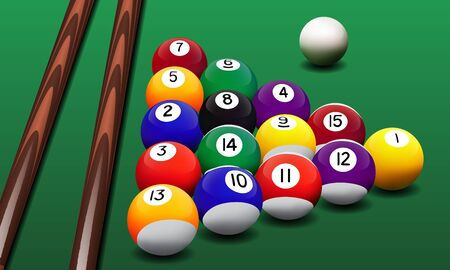 game of pool: Vector realistic billiard balls and cues on the green table. Illustration