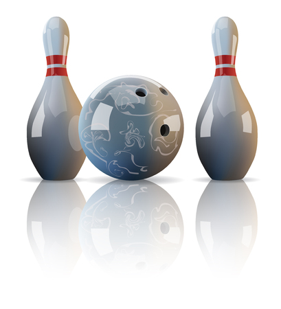 mirror reflection: realistic bowling ball and two pins with mirror reflection. Illustration