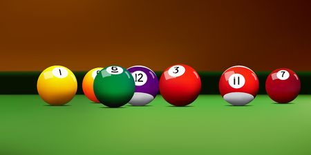 Assorted realistic billiards balls on the table.