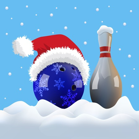 Christmas bowling ball with Santa cap and pin on snowing background.