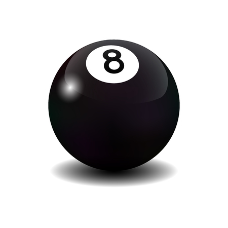 hobie: realistic isolated billiard eight ball on white background.