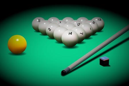 cue: realistic Russian billiards. Billiard balls and cue on the table.