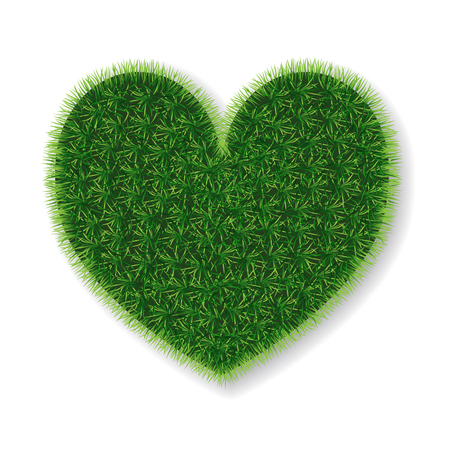 pastures: Isolated heart made of grass on white background.