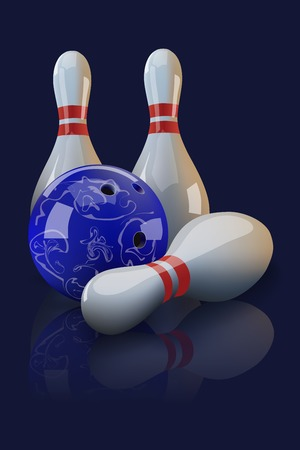 realistic bowling ball and three pins with mirror reflection on dark blue background. Illustration