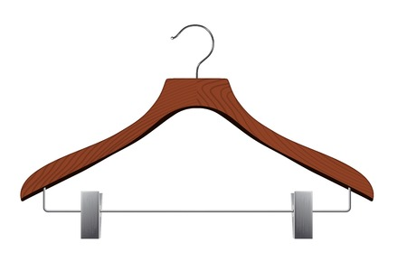 retail equipment: Isolated realistic hanger with clips on white background. Illustration