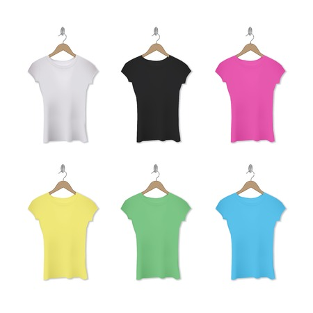 hangers: realistic assorted woman t-shirts on hangers.