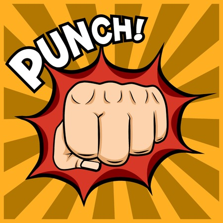 popart: Fist punching illustration in pop-art style. Illustration
