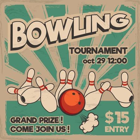 Vektor-Pop-Art-Bowling-Illustration auf einem Vintage-Hintergrund. Bowling-Streik. Retro Bowling Turnier Poster Design-Konzept.