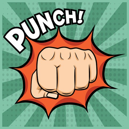 popart: Vector fist punching illustration in pop-art style on vintage background. Illustration