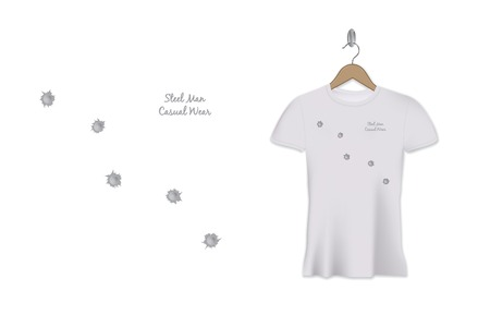 Bullet holes t-shirt print design. Vector template. Steel man casual wear. Illustration