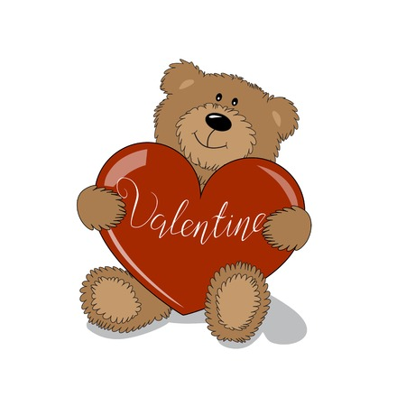 Isolated Teddy Bear with heart. Valentines Day Lettering Card element.