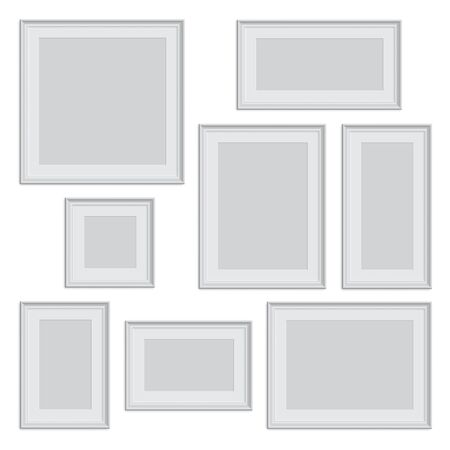 Vector isolated white photo or picture frame in different proportions and sizes.