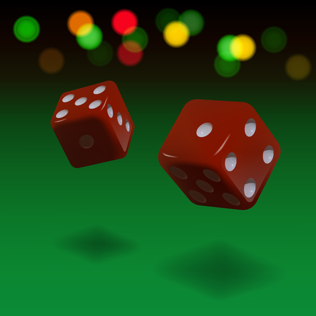 Dice gambling background. Red cubes on green background. Vector illustration. Illustration