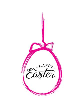 paschal: Happy Easter text in pink brush painted Easter egg for Paschal greeting card. Illustration