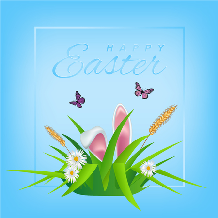 paschal: Happy Easter text on sky background with grass, daisies and easter eggs for Paschal greeting card. Illustration