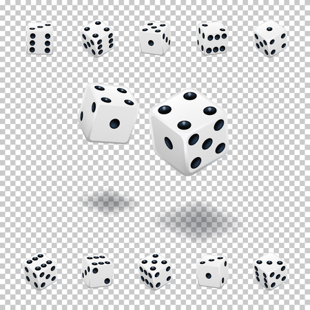 Dice gambling template. White cubes in different positions on transparent background. Vettoriali