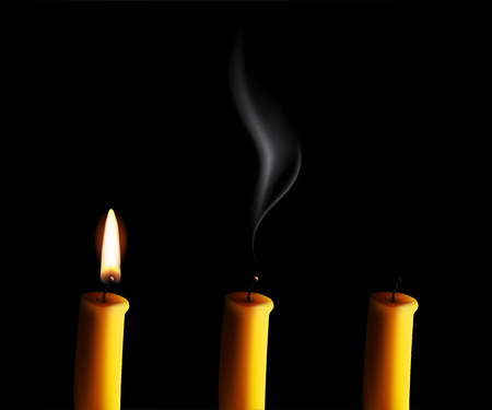 Vector realistic candle with fire, extinguished candle with smog and the candle-end isolated on black background.