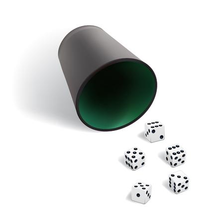 Modèle de jeu de données. Cubes blancs avec une coupe de dés sur fond blanc.