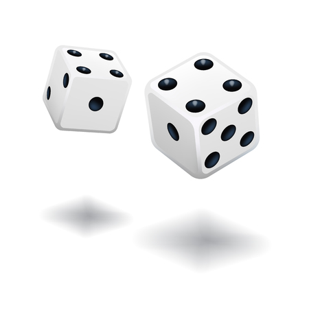 Dice gambling template. White cubes on white background. Vector illustration.
