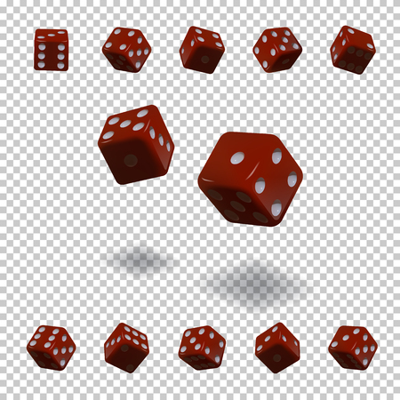 Dice gambling template. Red cubes in different positions on transparent background. Vector illustration.