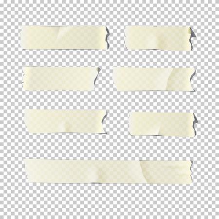 Conjunto de cinta adhesiva aislado sobre fondo transparente. Vector ilustración realista.