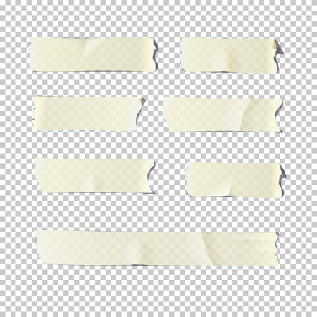 Adhesive tape set isolated on transparent background. Vector realistic illustration.